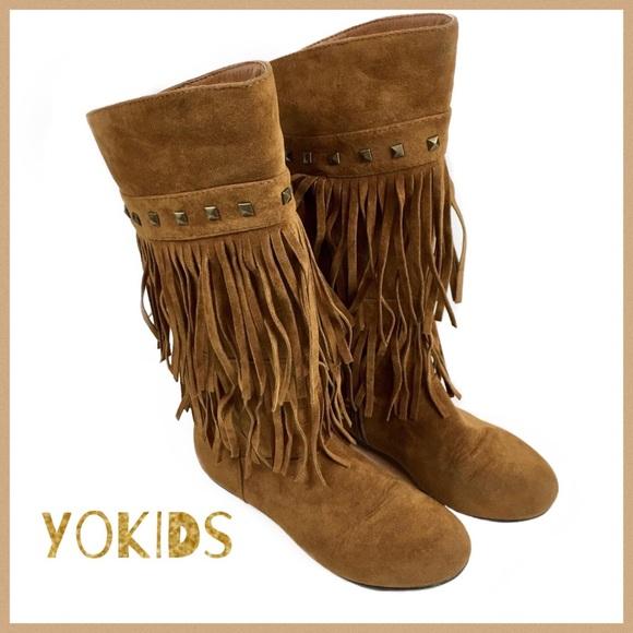 df16d4901 Yokids Girls Faux Suede 2-Layer Fringe Boots Sz 2.  M_5b8c3363f303699c3804de08